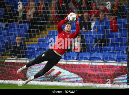 Cardiff City Stadium, Cardiff, UK. 16th Nov, 2018. UEFA Nations League football, Wales versus Denmark; Wayne Hennessey of Wales makes a save during warm up Credit: Action Plus Sports/Alamy Live News - Stock Photo