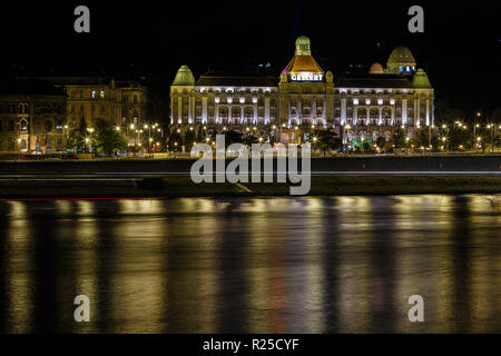 The night scene of the Budapest and the Danube river - Stock Photo