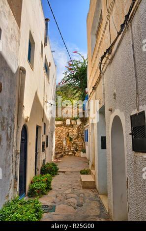 Narrow street of ancient Medina in Hammamet, Tunisia, Mediterranean Sea, Africa, HDR - Stock Photo