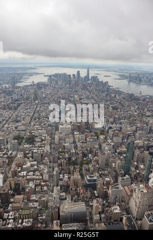 aerial view of mid town and Lower Manhattan and financial district skyscrapers, New York City, USA - Stock Photo