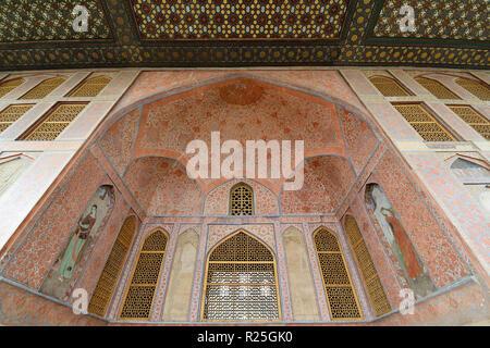 Iran, Ali Qapu Palace  is a grand palace in Isfahan on Naqsh-e Jahan Square in Isfahan (Esfahan). Main gate - Stock Photo