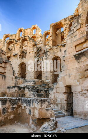 Ruins of the largest coliseum in North Africa. El Jem,Tunisia, UNESCO. - Stock Photo