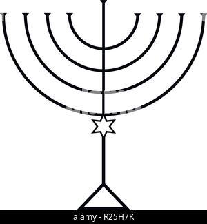 Menorah for Hanukkah, Vector illustration. Religion icon. - Stock Photo