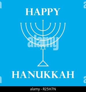 Hanukkah Menorah on Light Blue Background a - Stock Photo