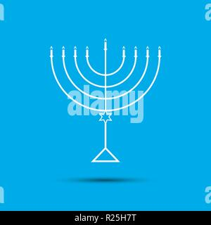 Hanukkah Menorah on Light Blue Background a - Stock Photo