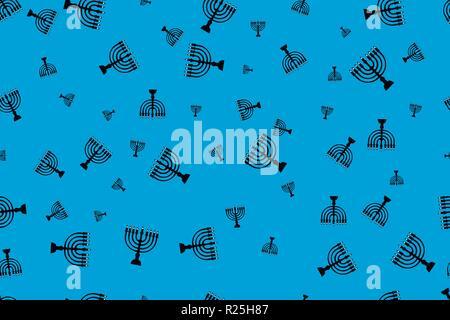 Pattern with menorah. Black menorah on a blue background - Stock Photo