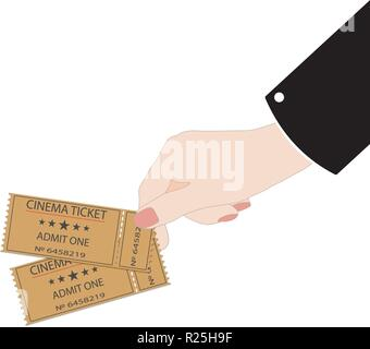 hand holds tickets on a white background - Stock Photo