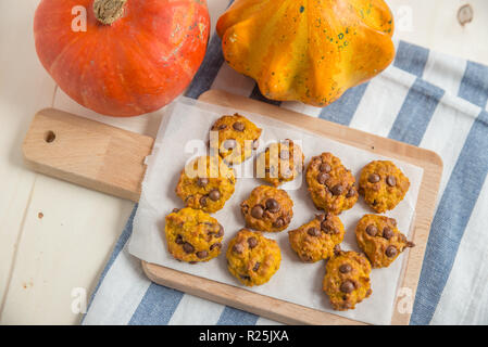Pumpkin cookies with chocolate chips - Stock Photo