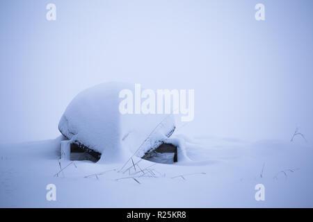 Boat in winter scene. Sotkamo, Finland. - Stock Photo