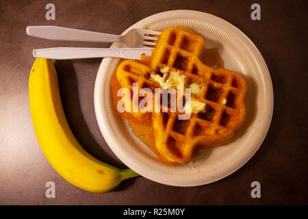 Waffle in the shape of Texas, photographed in Amarillo, TX. - Stock Photo