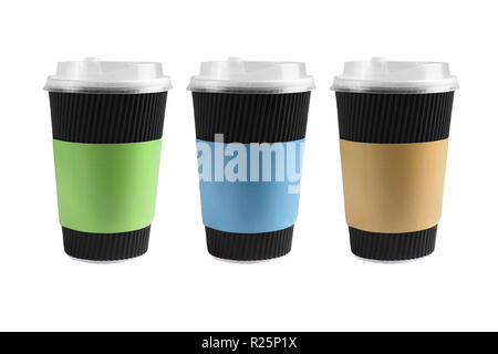 Three Black Corrugated Paper Cups on White Background - Stock Photo