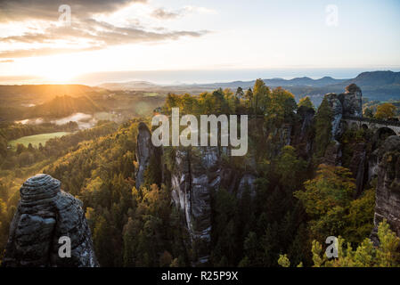 Sunrise In Autumn With A View - Stock Photo