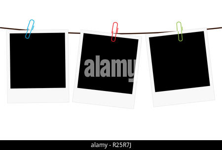 Vector illustration of three empty blank photo polaroid frame slides hanging on a rope with colorful paperclips over white background - Stock Photo
