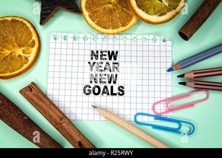 New Year New Goals. Christmas and holiday background - Stock Photo