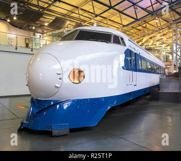 Japanese Bullet Train (Series 0 Shinkansen) in the Great Hall, National Railway Museum, York, England. This train was built in 1976. - Stock Photo