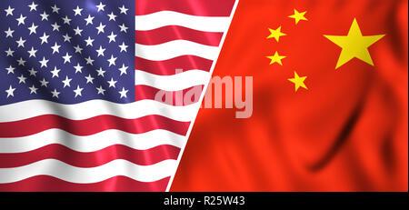 Usa flag vs China flag tradewar - Stock Photo