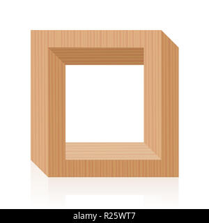 Impossible figure. Optical illusion with wooden frame. The upper part is correct, the lower part is correct, but both together are impossible. - Stock Photo