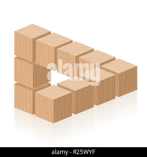 Impossible figure. Optical illusion with wooden cubes. - Stock Photo