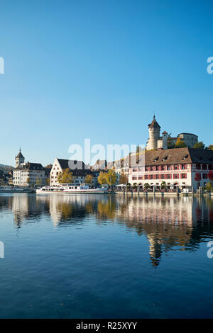 View over the Rhine to the old town and the fortress Munot, canton Schaffhausen, Switzerland - Stock Photo