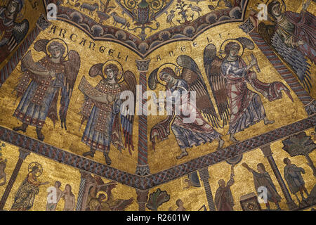 Mosaic of the dome, Baptistery of San Giovanni, Florence, Tuscany, Italy - Stock Photo