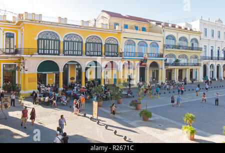 HAVANA, CUBA - JANUARY 16, 2017: The historic Old Square or Plaza Vieja in the colonial neighborhood of Old Havana - Stock Photo