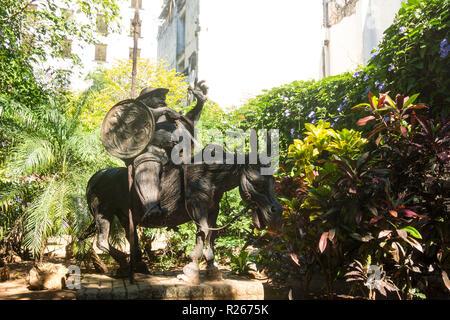 HAVANA, CUBA - JANUARY 16, 2017: Monument of Sancho Panza, the character of Cervantes in the book Don Quixote de la Mancha, in Old Havana, Cuba - Stock Photo