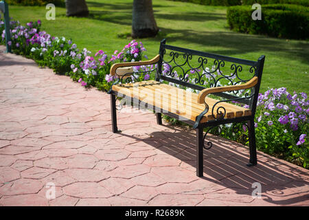 empty wooden bench on pavers road near green grass and summer or spring beautiful flowers in park or garden sunny outdoor on natural background. furniture and exterior. relax and privacy, solitude - Stock Photo