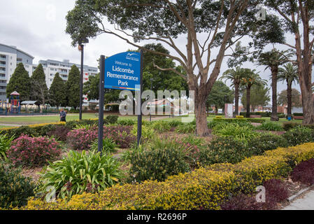 Remembrance Park in the Sydney suburb of Lidcombe, New South Wales, a park dedicated to remembering military people who fought for Australia in war - Stock Photo