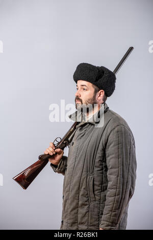Peasant With A Rifle On His Shoulder Old Fashioned Clothes Retro
