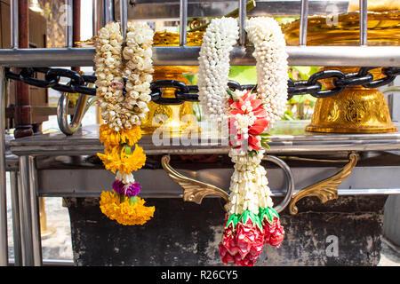 Buddhist flower garlands - Stock Photo
