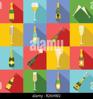 Champagne bottle glass icons set. Flat illustration of 16 champagne bottle glass vector icons for web - Stock Photo
