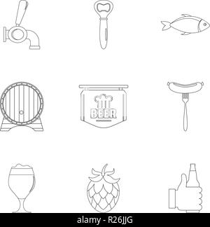 Dinnertime icons set. Outline set of 9 dinnertime vector icons for web isolated on white background - Stock Photo