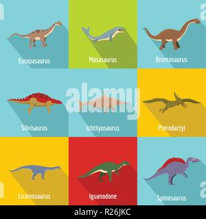 Dinosaur icons set. flat set of 9 dinosaur vector icons for web isolated on white background - Stock Photo