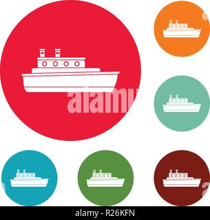 Ship travel icons circle set vector isolated on white background - Stock Photo