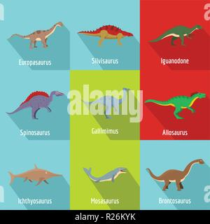 Dino icons set. flat set of 9 dino vector icons for web isolated on white background - Stock Photo