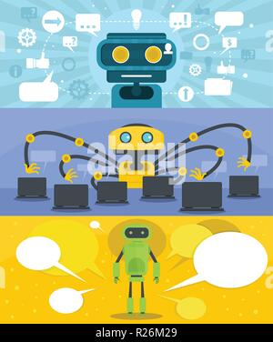 Chat robot banner concept set. Flat illustration of 3 chat robot vector banner horizontal concepts for web - Stock Photo