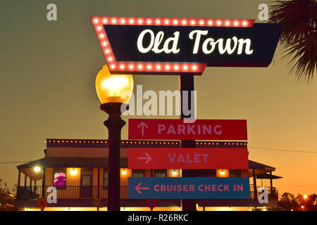 Orlando, Florida; October 31, 2018 Old Town iluminated sign at 192 Highway area. - Stock Photo