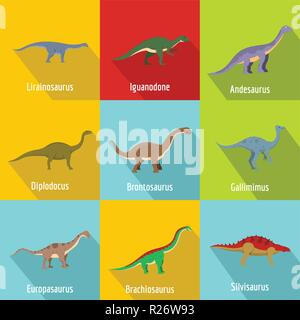 Little dinosaur icons set. flat set of 9 little dinosaur vector icons for web isolated on white background - Stock Photo