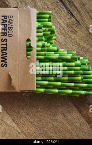 Open packet of paper straws made from bamboo and colored to look like bamboo. - Stock Photo