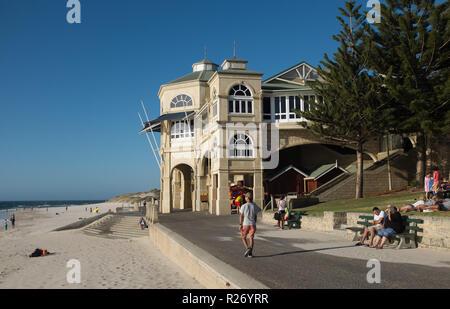 Cottesloe Beach with people and Indiana Tea House, Cottesloe, Western Australia, Australia - Stock Photo