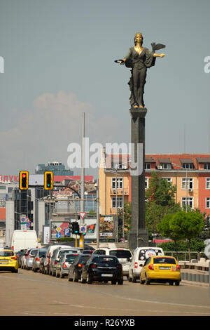 SOFIA, BULGARIA, APRIL 25 2018: The monument of Saint Sophia in the city center, 24 feet in height,  by the sculptor Georgi Chapkanov - Stock Photo