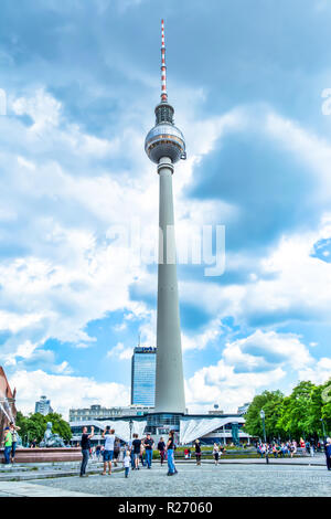 Berlin, Germany, May 25, 2015: TV Tower in Berlin in Germany close-up - Stock Photo
