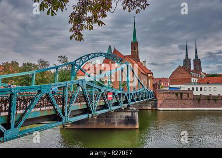 Tumski Bridge to the Katedra in Wroclaw, Poland - Stock Photo