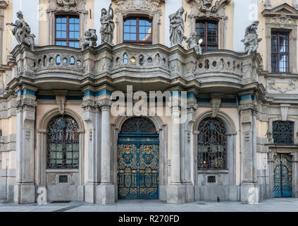 Ornamented door on the old university in Wroclaw, Poland - Stock Photo