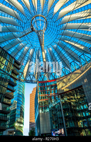 Berlin, Germany - May 25, 2015: Sony Center in Berlin at sunset with a blue clear sky. The ensemble of buildings on Potsdamer Platz in the center of t - Stock Photo