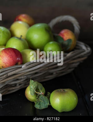 Fresh apples from the tree in a basket - Stock Photo
