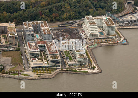 helicopter aerial view of Port Imperial, Days Point, New Jersey, USA - Stock Photo