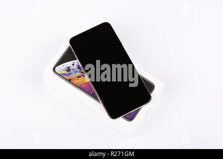 BURGAS, BULGARIA - NOVEMBER 8, 2018: Apple iPhone Xs Max Silver on white background, front view. - Stock Photo