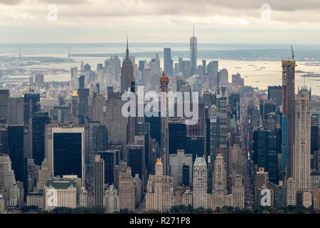 helicopter aerial view of midtown Manhattan from Central Park, New York City, USA - Stock Photo