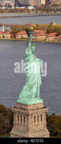 helicopter aerial view of The Statue of Liberty, New York City, USA - Stock Photo